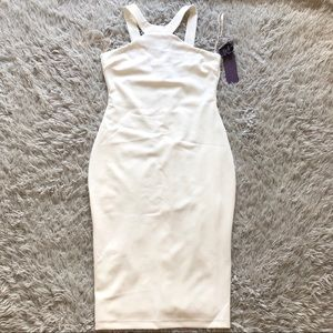 Hale Bob Dresses - Hale Bob Shizuka Halter Sheath Midi Dress in Ivory